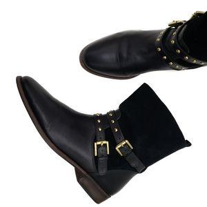 COACH Liliana Black Moto Stud Ankle Boots SZ 9